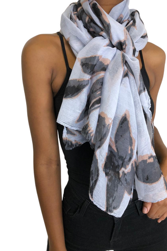 White & Grey Floral Scarf