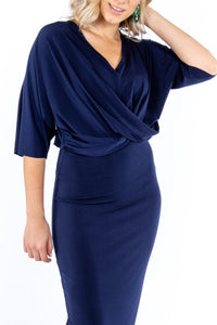 Navy Twist Dress