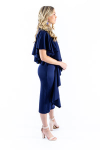 Navy Ruffle Cocktail Dress