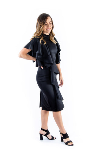 Black Ruffle Cocktail Dress