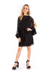 Black Split Sleeve Cocktail Dress