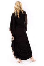Black & Gold Sequin Batwing Dress