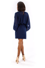 Navy Split Sleeve Cocktail Dress