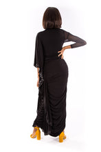 Black Sequin Batwing Dress