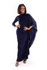 Navy Sequin Batwing Dress