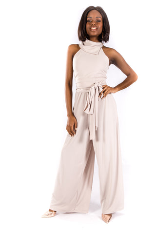 Cream High Neck Jumpsuit