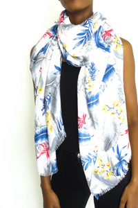 White Tropical Scarf