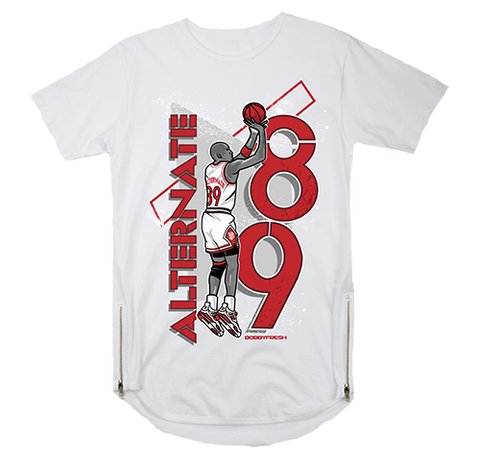 1989 White Scoop Zipper Tee