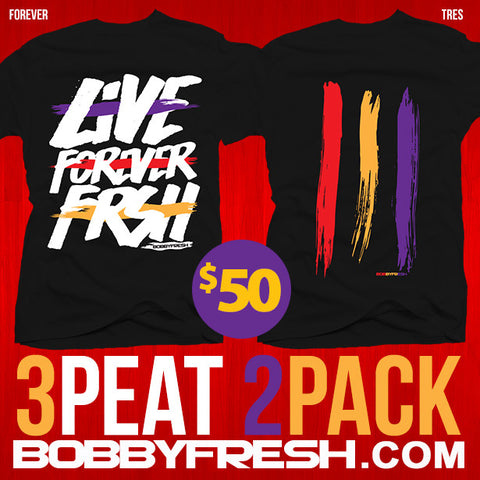 2 pack 3 peat Forever / Tres Black Tees