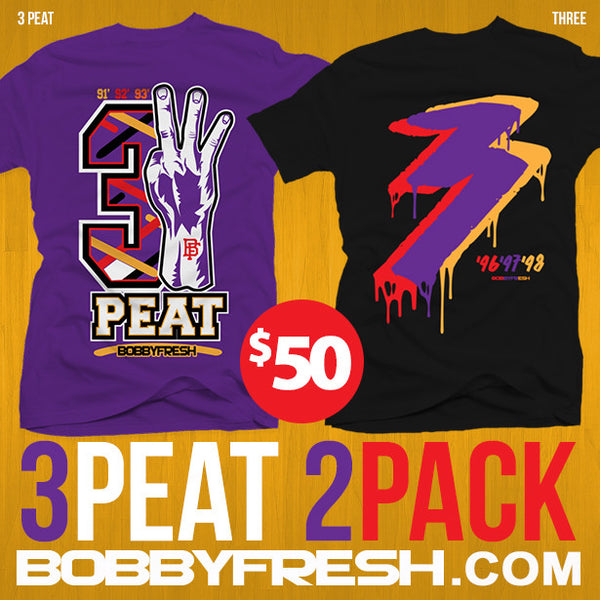 2 pack 3 peat 3Peat Purple / Three Black Tees