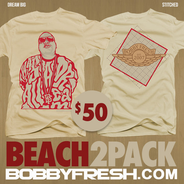 2 Pack Beach Dream Big / Stitched Tan Tees