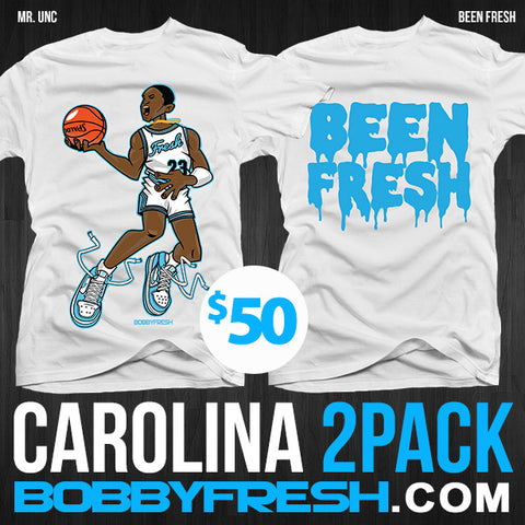 2 Pack Carolina Mr UNC / Been Fresh White Tees