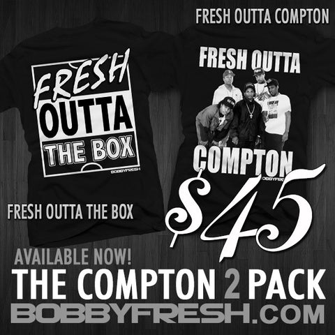 2 Pack Fresh outta The Box/ Fresh outta Compton Black/Metallic Tees