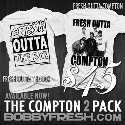 2 Pack Fresh outta The Box/ Fresh outta Compton White Metallic Tees