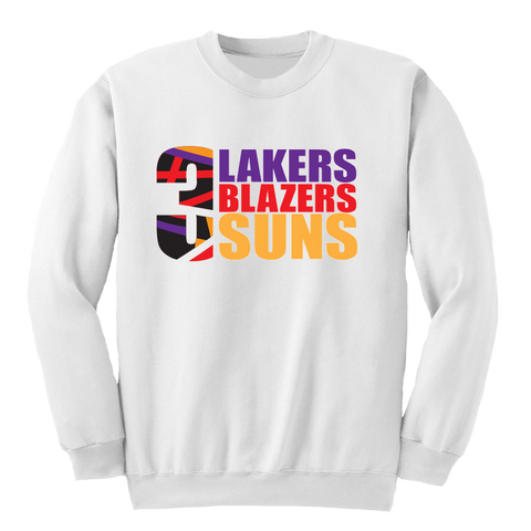 3 Teams White Crewneck