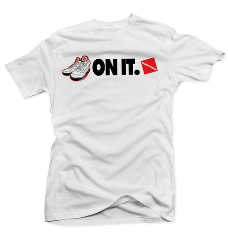 5 On It White Tee (2013 White/Fire Red)