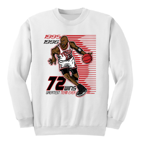 72 Wins White Crewneck