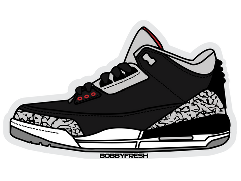 Jordan 3 Black Cement Sticker