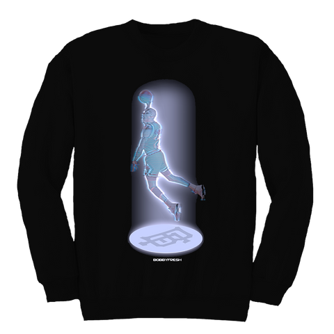 Beam Me Up Hologram Black Crewneck