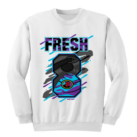 Big 8 Aqua White Crewneck