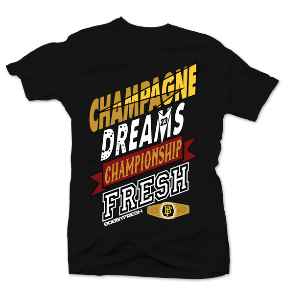 Champagne Dreams Black Tee