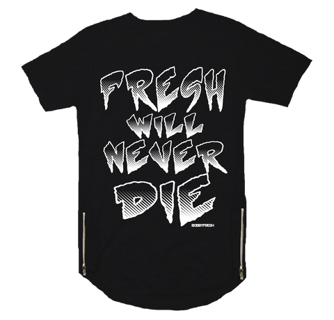 Never Die Black Scoop Zipper Tee