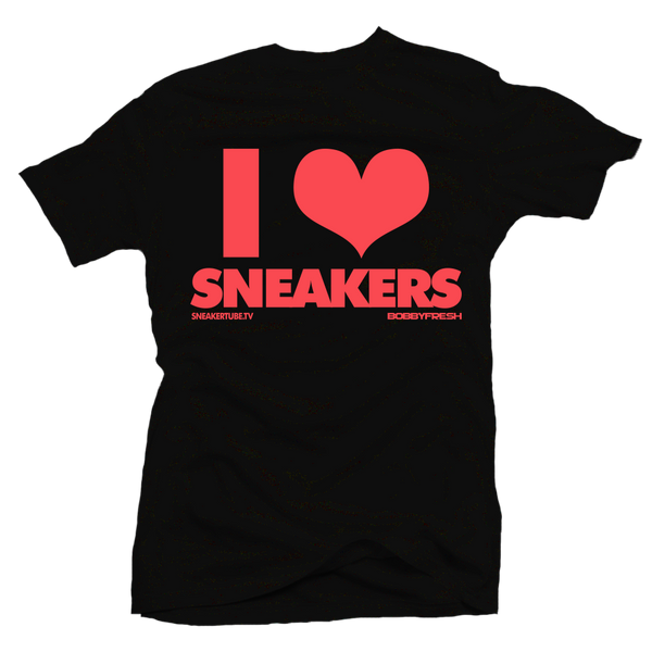 Bobby Fresh x SneakerTube I Love Sneakers Black / Infrared Tee - Bobby Fresh