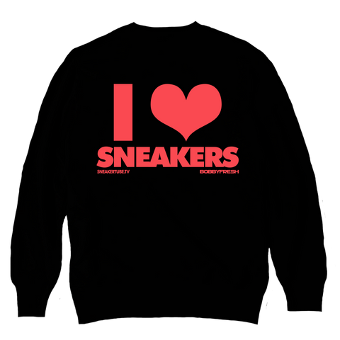 I Love Sneakers Black / Infrared Crewneck