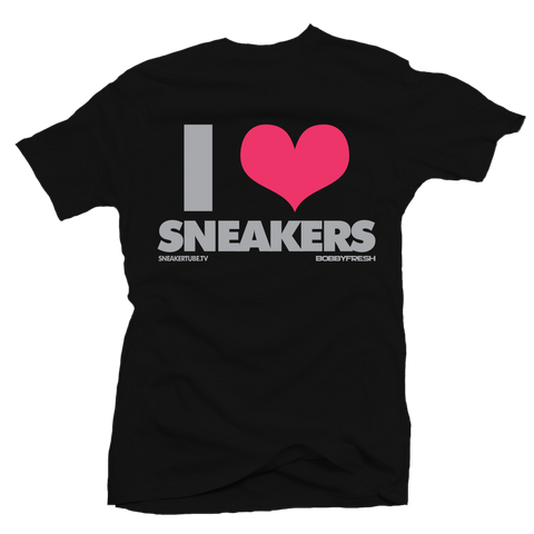 I Love Sneakers Hyper Pink Black Tee