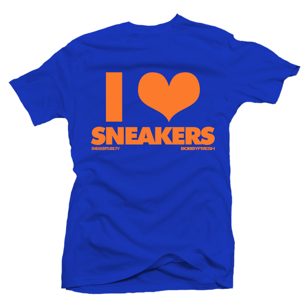 I Love Sneakers Orange Blue Tee
