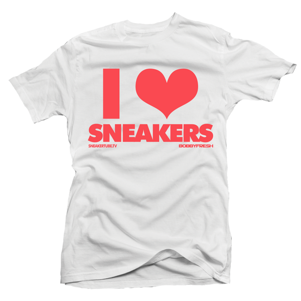 Bobby Fresh x SneakerTube I Love Sneakers White / Infrared Tee - Bobby Fresh