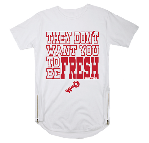Key To Freshness White Scoop Zipper Tee