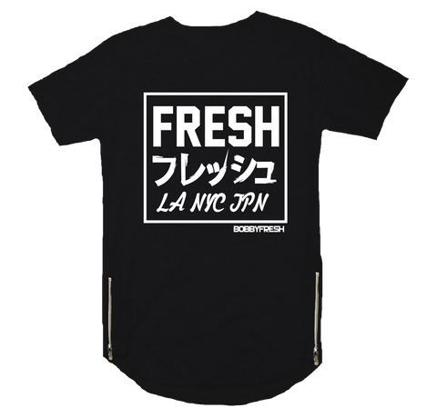 LA NY JPN Black Scoop Zipper Tee