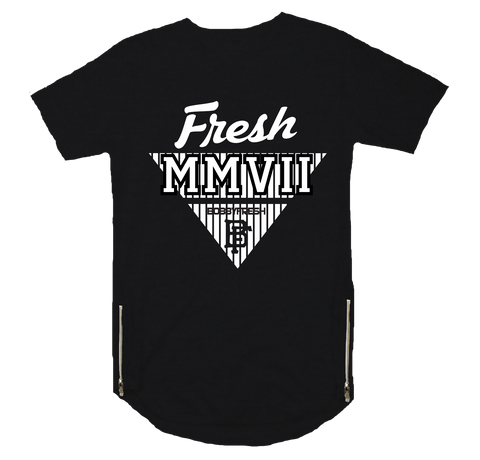 MMVII Black Scoop Zipper Tee