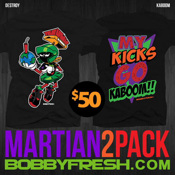 2 Pack Martian Destroy / Kaboom Black Tees