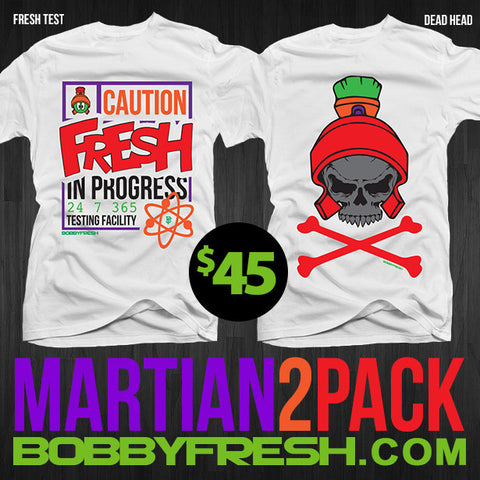2 Pack Martian Fresh Test / Dead Head White Tees