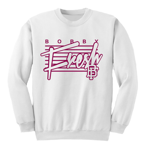 The Retro White Maroon Crewneck