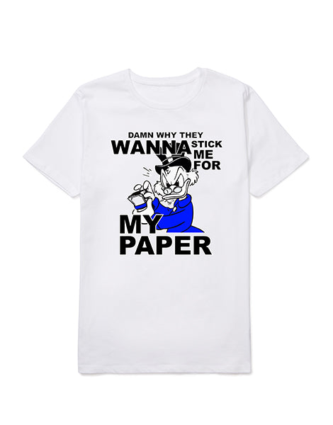 Stick me for my Paper White/Blue Tee
