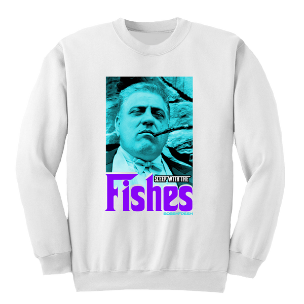 Sleep With The Fishes White Crewneck