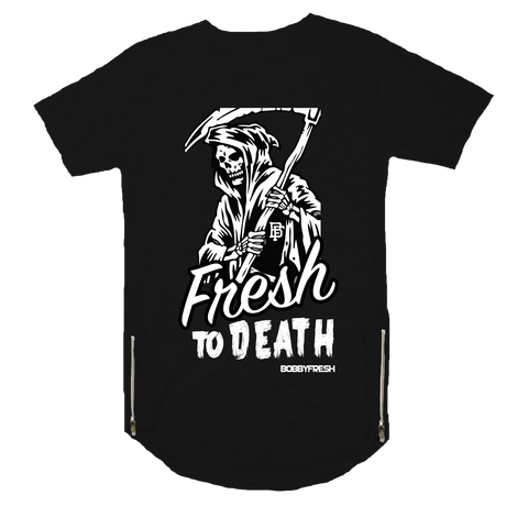 To Death Black Scoop Zipper Tee