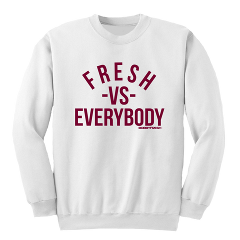 VS White Maroon Crewneck
