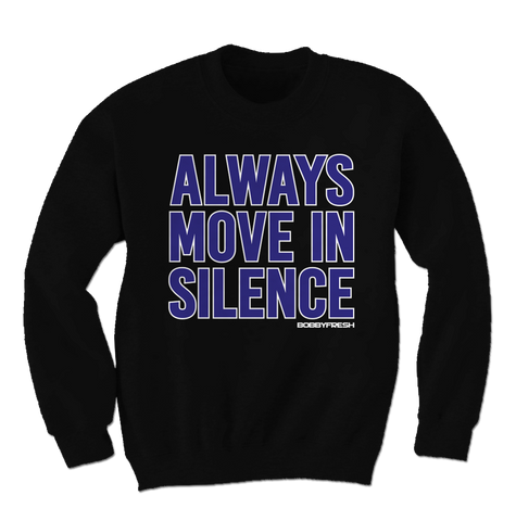Always Move In Silence Space Jam Black Crewneck