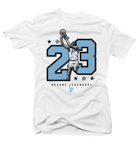 Become Legendary Unc 3 White Tee