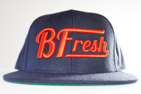 B. Fresh Script Navy/Orange Snapback