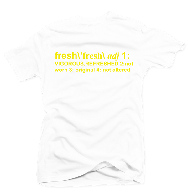 Definition of Fresh White/Yellow Tee - Bobby Fresh