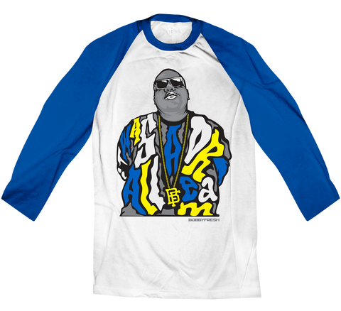 Dream BIG White/Royal Blue Raglan Tee