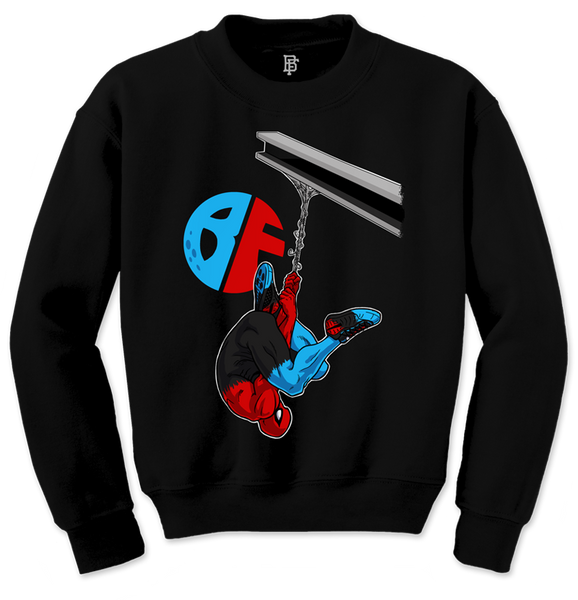 Hanging Spidey Black Crewneck