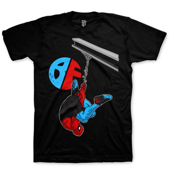 Hanging Spidey Black Tee