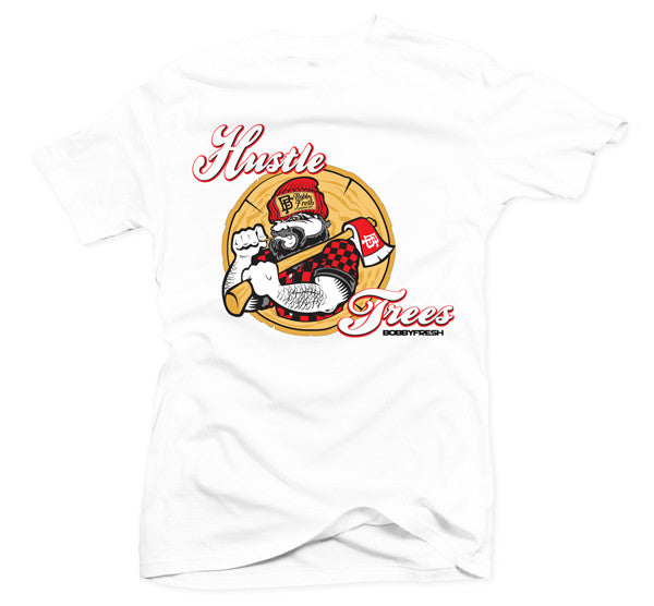 Hustle Trees White/Red Tee