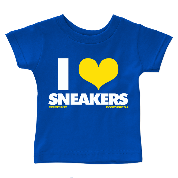 Bobby Fresh x SneakerTube I Love Sneakers Royal Blue/Yellow Kids Tee